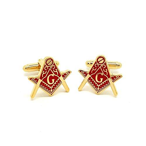 BOBIJOO Jewelry - Manschettenknöpfe Freimaurer Messing Vergoldet, weißgold e-Mail-Rote Freimaurerei Masonic Freemason