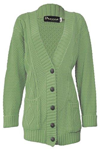Fashion 4Less Nuovo Donna Manica Lunga Due Tasca Cardigan. UK 8–22 Khaki