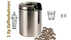 Une boîte en acier inoxydable pour 1 kg de grains de café avec cuillère et geburtstagsaktion ® james premium lot de 6 gobelets à expresso