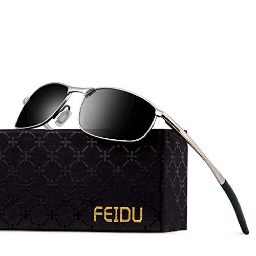 FEIDU Sportbrille Sonnenbrille Herren Polarisierte,HD Lens Metal Frame Driving Shades FD 9005 (Schwarzes Silber, 57)