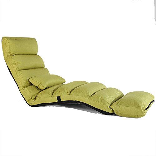 Verlängern Sie Sofa Chair Lounge Schlafsofa Falten verstellbare Bodenliege Sleeper Futon Matratze Sitz Stuhl W/Kissen, 5 Grad einstellbar (Farbe : Grass green)