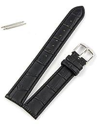Momola, de alta calidad suave Sweatband Correa de piel hebilla de acero muñeca 18mm patrón de bambú decorativa reloj banda, color negro