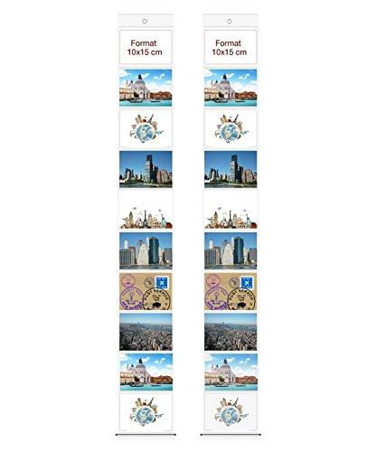 Trendfinding 2 Fototaschen 10 x 15 cm für je 10 Fotos Querformat Deko Foto Bilder Karten Halter Fotowand Fotovorhang Fotohalter Kartenhalter