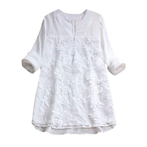 TEBAISE Damen Leinenkleid Vintage Frühling und Sommer Kleid Baumwollleinen Rundhals Lose Rundhals Kurzarm Kleider mit Taschen ()