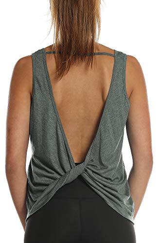 icyzone Damen Tank Tops Rückenfrei - Sport Oberteil Yoga T-Shirt Casual Bluse Vest Ärmellose (M, Charcoal)
