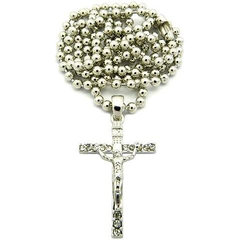 Crocifisso Gesù strass Micro Ciondolo w/68,6cm Ball–Catena Tono Argento xmp10r