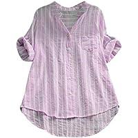 Damen Tops, Geili Frauen Striped Print Dreiviertel-Ärmel Unregelmäßiger Saum Knopf Shirt Damen beiläufige lose... preisvergleich bei billige-tabletten.eu