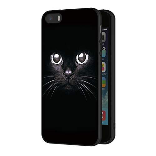 Eouine Apple iPhone 5 5S SE Hülle Case Handyhülle Silikon Schwarz mit Muster Ultra Slim Stoßfest Soft Gel Back Cover Schutz Bumper Skin für Apple iPhone 5 5S SE Smartphone, Schwarze Katze