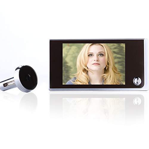 Timbre digital inteligente con pantalla LCD de 3,5 pulgadas, visor de mirilla de gran angular, visor de puerta, cámara de seguridad 24 horas de vigilancia, negro