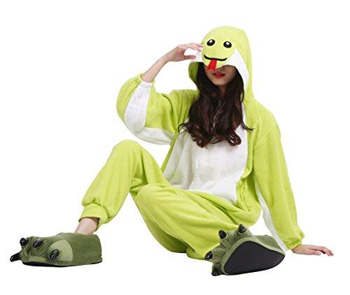 Wamvp Kigurumi Animale Onesies Pigiama Unisex Adulto Sleepwear Cosplay Carnevale di Natale Halloween Verde