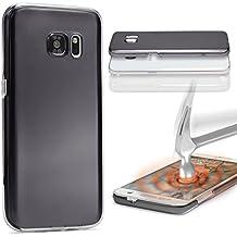 Urcover® Samsung Galaxy S6 Edge Plus | Funda Carcasa 360 Grados Ultra Slim Metálico | TPU en Negro | Case Cover Protección completa Smartphone Móvil Accesorio