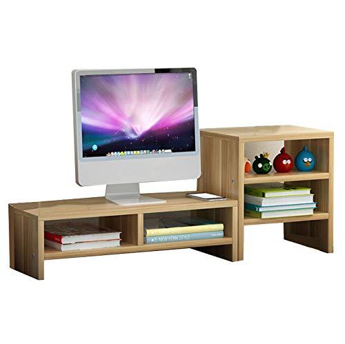 Holz Monitor Ständer Holz Schreibtisch Veranstalter Schreibtisch Lagerregal TV Computer Bildschirm Riser mit Ablage Regal 3 Tier,lightwalnu ()