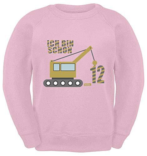 HARIZ Kinder Sweater Ich Bin Schon Zwölf LKW 12 Geburtstag Geschenk Plus Geschenkkarten Rosa 140/9-11 Jahre