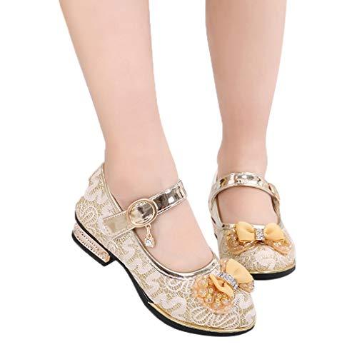 MRURIC❀ Kinder Schuhe Einzelne Schuhe Infant Kinder Mädchen Bowknot Perle Spitze Kristall Single Princess Schuhe Anti-Rutsch Taufschuhe Partei Schuhe Hochzeit Absatz Schuhe ()