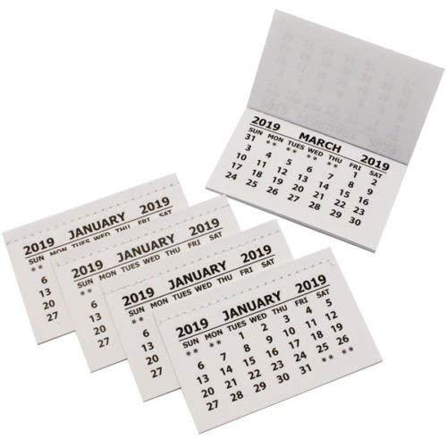 50x 2019Kalender für   Büro, Kids, Kinder, planning  ideal für Schulen, zu Hause oder office  Reiter/Einsatz weiß Mini Kalender Abreißen Pads Monat zu View Crafts 75mm x 46mm weiß