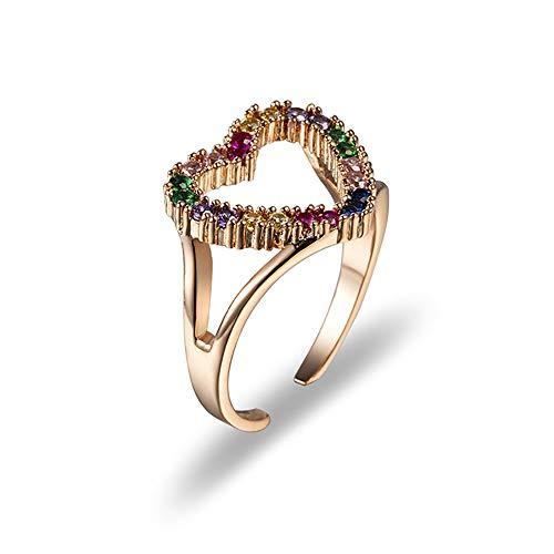 Gywttg Ring Damenringe Zirkonringe Modische Farbige Zirkon Verlobung/Wedding Brautring Geschenke,Rosegold