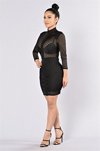 Femmes Sexy manches longues Mesh Bandage Stitching Package Hip Clubwear Robe Jupe Noir