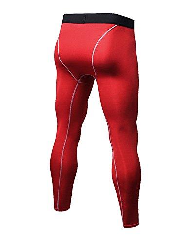 Pantaloni A Compressione Uomo Sportivi Base Strato Alta Elastica Fitness Leggings Rosso