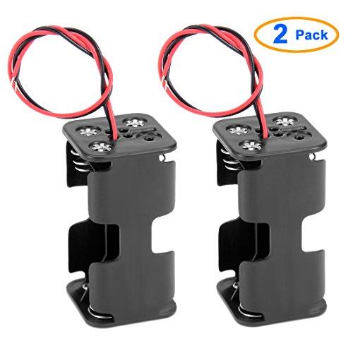 2 Pcs double couche en plastique Noir 4 x AA Porte-batterie 6V filaire