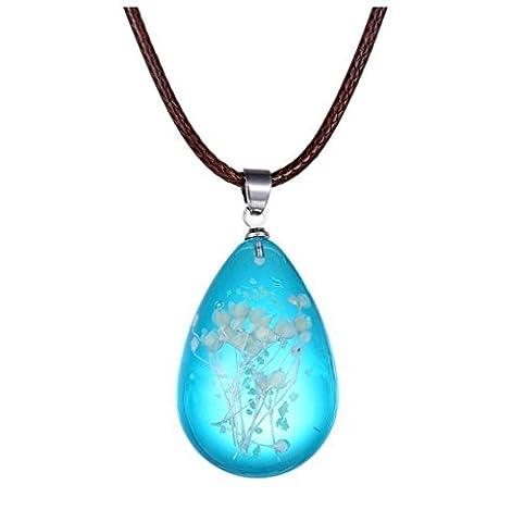 Winter Secret de Creative Pendentif en forme de goutte Bleu cristal Babysbreath séchées Fleur Pendentif Collier