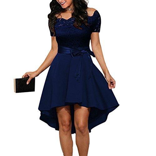 FANTIGO Mujer Vestido de Noche sin Mangas con Cuello en V para Cocktail Dress Dark Blue XL
