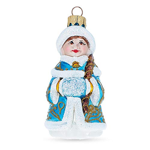 BestPysanky Snegurochka Mouth Blown Glass Christmas Ornament 4.1 Inches -