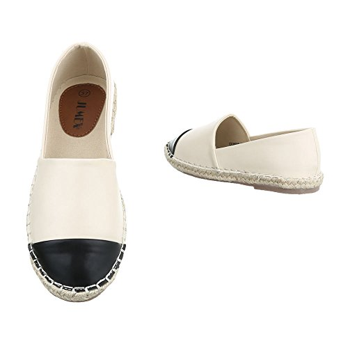 Slipper Damenschuhe Low-Top Blockabsatz Moderne Ital-Design Halbschuhe Creme