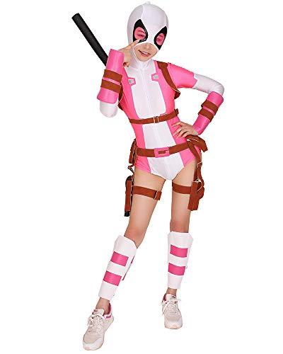 miccostumes Damen Gwen Pool Cosplay Kostüm Bodysuit mit Gürtel Set - Pink - (Mädchen Cosplay Kostüm Der Comic Con)