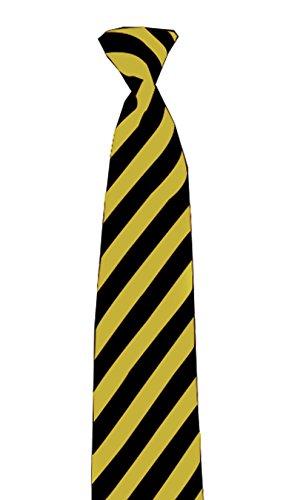 Schwarz-gelb gestreifte schmale Krawatte - Perfekt für Schuluniform ()