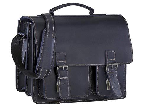 Greenburry Aktentasche Leder Schultasche XL Lehrertasche Tasche New Buffalo blau Damen Herren Schule Uni Arbeit -