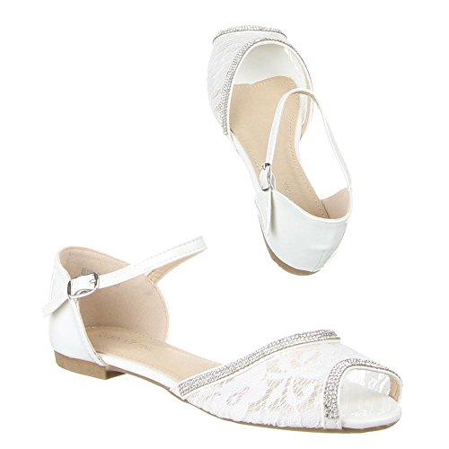 Ital-Design - Scarpe peep toe Donna Bianco (bianco)