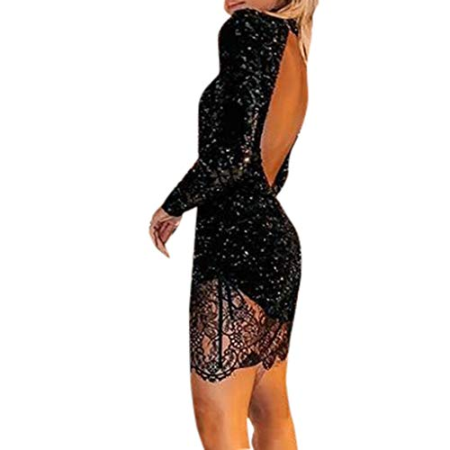 Damen mit Pailletten Halfter-Cocktail Ballkleid sexy eng anliegend langärmlig Spitzenkleid Rock URIBAKY