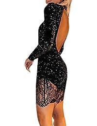 1f720c63abb3 Innerternet Abito da Donna Sexy in Pizzo con Maniche Lunghe in Raso Design  Vuoto Backless Tinta