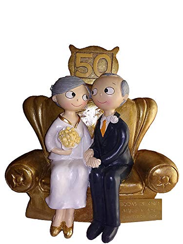 Figura Bodas Oro 50 Aniversario Placa grabada