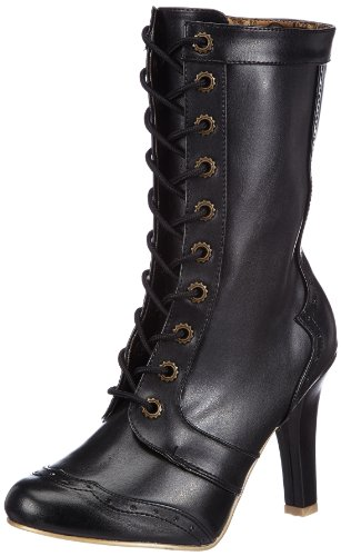 Demonia TESLA-102 Damen Stiefel, Schwarz (Blk Vegan Leather), EU 40 (UK 7) (US 10) (Steampunk Damen Stiefel)