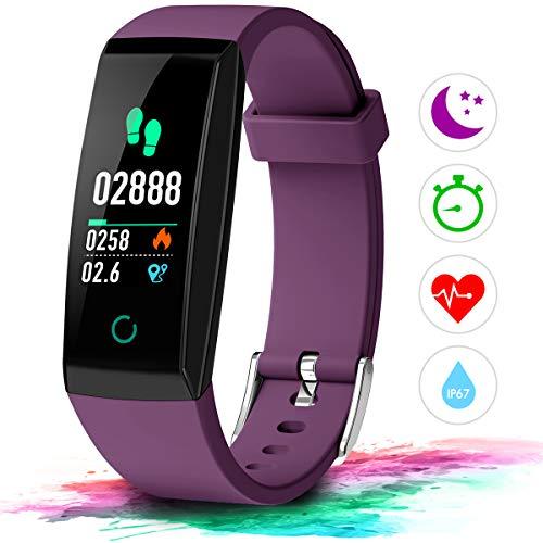 Winisok Fitness Armband Pulsmesser Fitness Tracker Wasserdicht IP67 Farbdisplay GPS Fitness Tracker Aktivitätstracker Schrittzähler Uhr Schlafüberwachung Anruf SMS für Kinder Damen Männer
