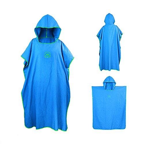 (ele ELEOPTION Bade Poncho Microfiber Tauchmantel schnell trocknenden Mantel für Schwimmen Surfing Strand Neoprenanzug (Blau))
