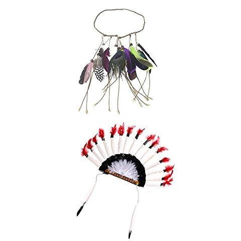 Gazechimp 2psc/Set Accessoire Déguisement Indien Bandeau Cheveux Elastique + Chapeau Coiffe à Plume
