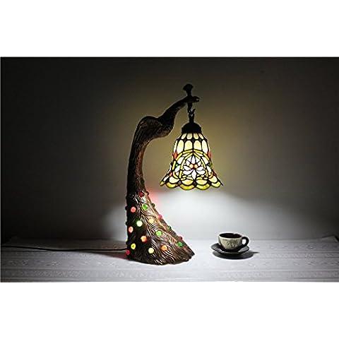 MEHE HOME-lampada da letto europea 8 pollici lampada perle di vetro fatti a mano pavone Tiffany illuminazione d'arte in vetro colorato retrò