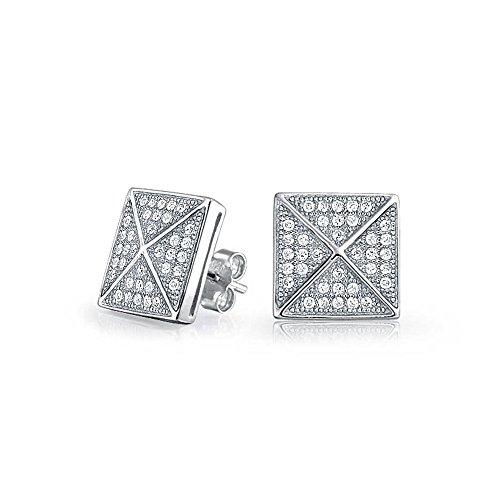 Quadratische Zirkonia Quadrat Micro Geometrische Pyramide Ohrstecker Ohrhänger Für Herren Für Damen 925 Sterling Silber -