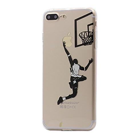 Coque iPhone 8 Plus / 7 Plus, Keyihan Motif Noir Ultra Mince Clair Transparente Souple TPU Silicone Housse Étui Protecteurr pour Apple iPhone 8 Plus / 7 Plus (Jouer au basket)