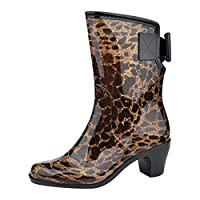 Womens Leopard Print Short Half-Height Wellies Waterproof Slip-on Rian Boots Easier On & Off for Wider Calf Fitting BaojunHT®