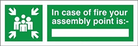 In Case of fire your assembly Point Is - 300x100 Self Adhesive