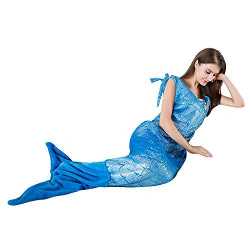 Designs Snuggies Mit (LANGRIA Meerjungfrau Decke mit Neckholder für Erwachsene Kuscheldecke Glitzernde Flanell Decke Fischschwanz Decke mit Reißverschluss für Bett Sofa (170x 64cm, Blau))