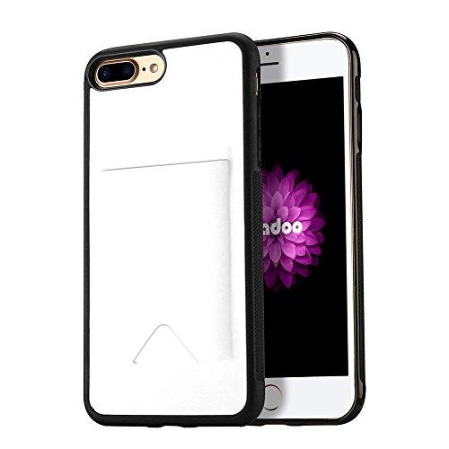 Radoo iPhone 8 Plus/iPhone 7 Plus Hülle, Luxus Tasche [Kreditkarten Slots Halter] Etui Flexibles Silikon TPU Hybrid Weiche Handyhülle Schutzhülle für Apple iPhone 7 Plus/8 Plus 5.5 Zoll (Weiße)