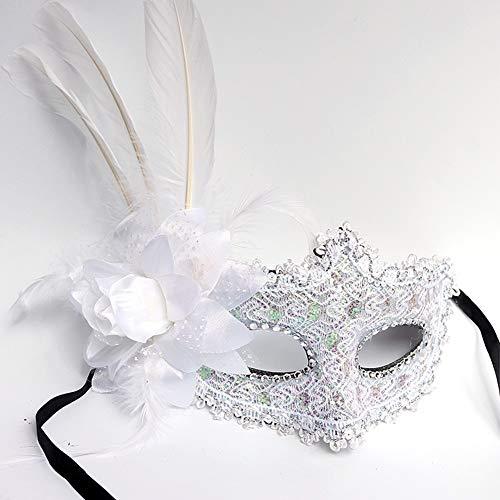 XAOBNIU Maskerade Lace Mask Half Face weibliche Erwachsene Party Prinzessin COS (Farbe : Weiß)