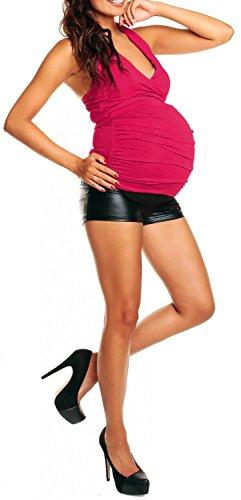 Happy Mama Damen Umstands-Top mit Neckholder Jersey Oberteil für Schwangere 167p Himbeere