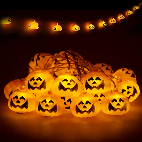 Kürbis LED Lichterkette, LOHAS Lichterkette mit Batterie, Halloween Lichterkette, Warmweiß Kürbis Deko, 3 Meters mit 20LEDs, Batteriebetrieben, IP42, Halloween/Bar/Party/Versammeln/Festival, 1er Pack (Licht Bar Pack)