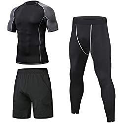 Niksa 3 Piezas Conjunto Camiseta Compresión Ropa Deportiva Hombre Pantalones Cortos y Leggings y Tops Apretada Secado Rápido para Running Fitness Entrenamiento Yoga (Mangas Cortas(153519)*D, X-Large)
