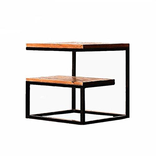 Loft Industriel Style Rétro Solide Bois Table Basse Salon Petit Thé Table Chevet canapé Fer Table de Téléphone (Taille : 50*50*50cm)